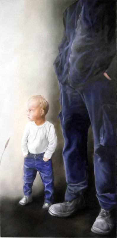 ' father and son ' oil on canvas (2015) 100 x 200 cm