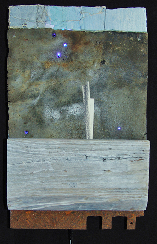 L.E.D. (let every one dream) mixed media with leds (2014) 20 x 32 cm