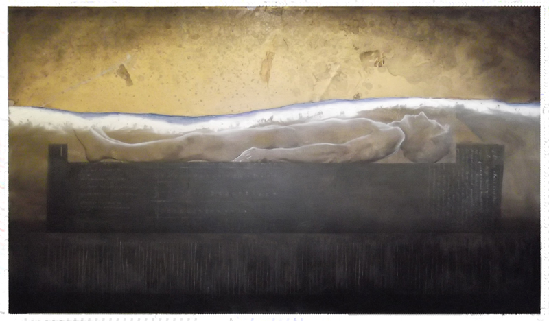 'at a last supper even rooms with seaview can be depressing oil on canvas (2012) 245 x 140 cm